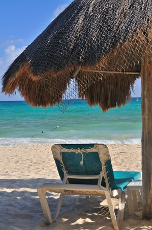 Palapa on a tropical beach in Playa Del Carmen Mexico