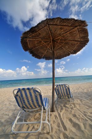 Palapa on a tropical beach in Playa Del Carmen, mexico Stock Photo