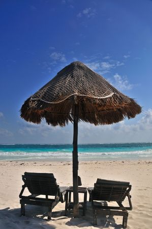 carmen: Palapa on a tropical beach in Playa Del Carmen, Mexico Stock Photo