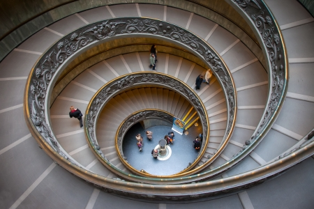 The monumental double spiral staircase designed by Giuseppe Momo helical to the Vatican Museums and opened December 7, 1932