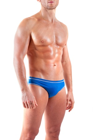 six pack abs: Strong handsome fitness sports man in underwear Stock Photo