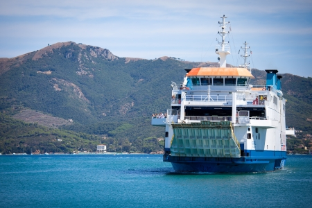 ferry enters the port of Portoferraio, Elba island Tuscan archipelago.