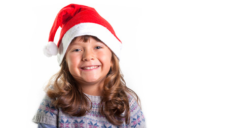 little girl on christmas isolated in white