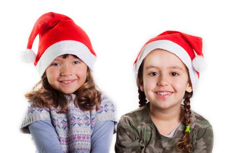 Christmas girls on white background