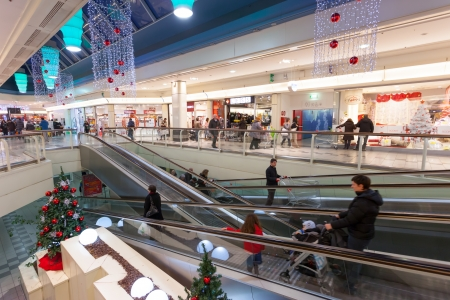 Bologna, Italy - Novembre 30, 2013: The mall Blades is the 3rd largest of Bologna. One of the 10 largest shopping malls in Italy. 30 November 2013 ushered in the Christmas season with decorations change colors.