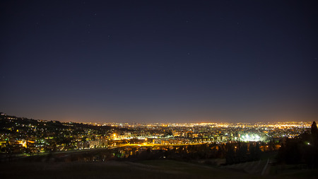 Night view from the hills of Bologna Stock Photo