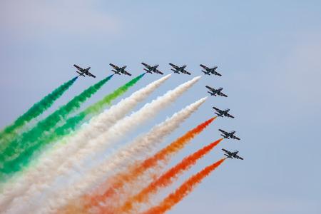 The Italian demonstration team Frecce Tricolori performes