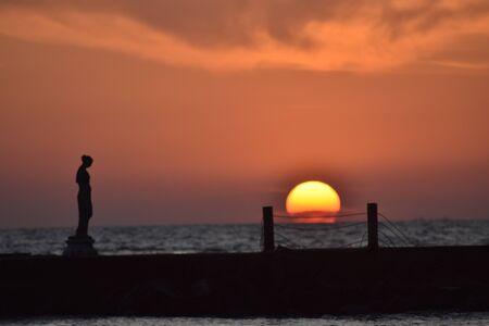 Statue of Venus Fishermen Ostia Lido RM at sunset