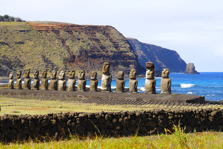 Ahu Tongarikis moai at Easter Island, Chile