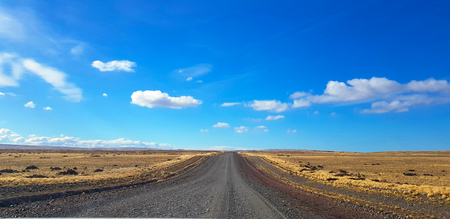 Argentine Patagonia road crossing a typical landscape, Patagonia, Argentina