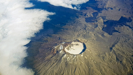 Aerial view of a volcano of the Andes mountains, Chile 스톡 콘텐츠
