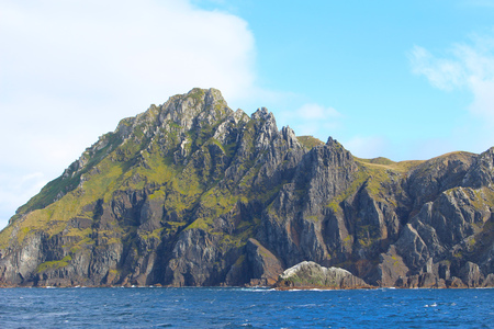 The impressive cliffs of Cape Horn the southernmost headland of the Tierra del Fuego archipelago in Chile Stok Fotoğraf