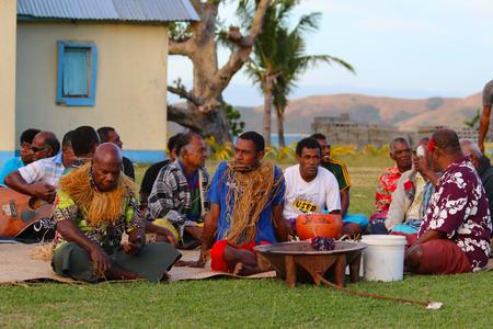 The Kava ceremony in a Fijian village of Naviti Island, Yasawa, Fiji