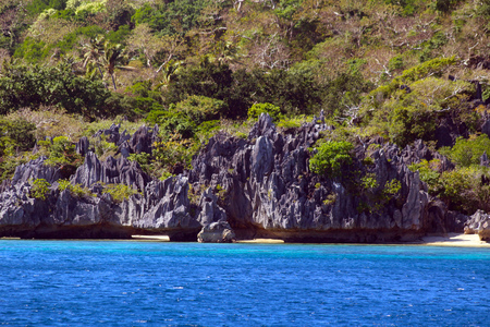 View of Sawa-i-Lau Island one of the Yasawa islands with limestone formations and coconut palms, Fiji