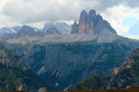 The Three Peaks of Lavaredo (Three peaks of Lavaredo) seen from the summit of Monte Specie, Dolomites, Italy