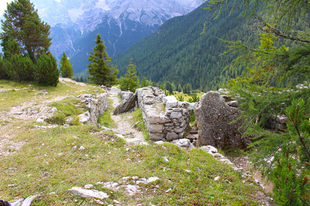 First World War trenches near the Forte Prato Piazza, Dolomites, Italy Stock Photo