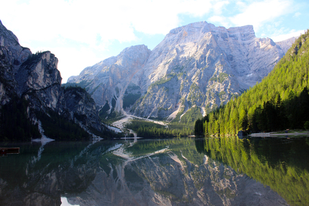 An alpine lake. Landscape of Braies Lake (Lago di Braies), Dolomites, Italy