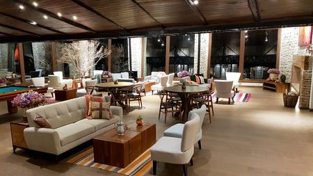 A lounge inside the splendid Hotel Palacio de Sal at the entrance to the Salar de Uyuni, Bolivia