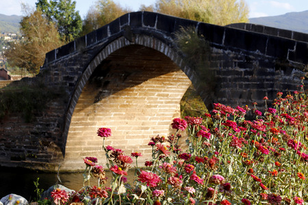 An ancient bridge with flowers in Shaxi, Yunnan, China