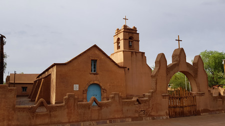 The beautiful church of San Pedro de Atacama, Chile. Indigenous adobe material was used in the churchs construction, it is reportedly the second oldest church in Chile