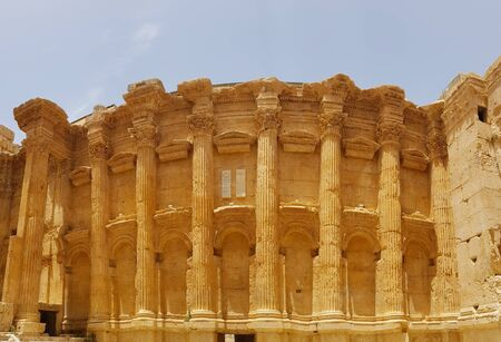 Interior of the Temple of Bacchus. The ruins of the Roman city of Heliopolis or Baalbek in the Beqa Valley. Baalbek, Lebanon - June, 2019