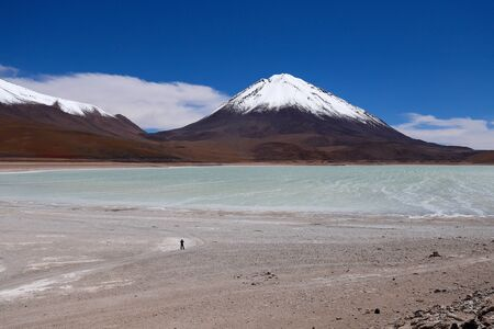 The Laguna Verde and the snow-covered Licancabur volcano, Bolivia. Desert landscape of the Andean highlands of Bolivia