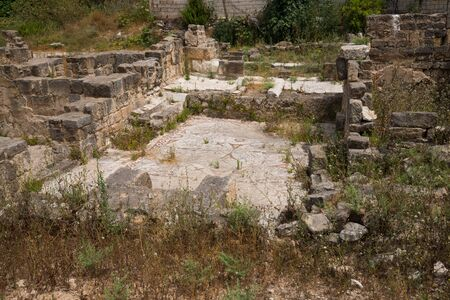 Mosaic floor of a Roman house. Al-Bass Tyre necropolis. Roman remains in Tyre. Tyre is an ancient Phoenician city. Tyre, Lebanon - June, 2019 Фото со стока