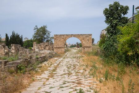 The Byzantine road. Al-Bass Tyre necropolis. Roman remains in Tyre. Tyre is an ancient Phoenician city. Tyre, Lebanon - June, 2019
