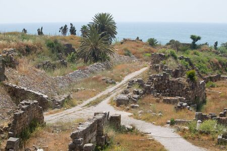 The remains of the railway. View of the Roman ruins of Byblos. Byblos, Lebanon - June, 2019