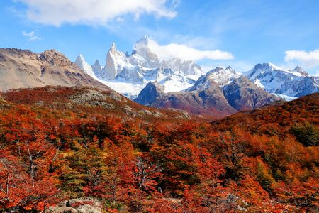 Autumn colors of vegetation around the Laguna Capri with Mount Fitzroy in the background, National Park of Los Glaciares, Argentina Reklamní fotografie