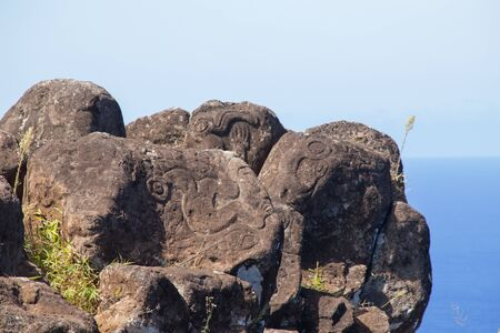 Stone petroglyphs in the village of Orongo in Easter Island. Easter Island, Chile