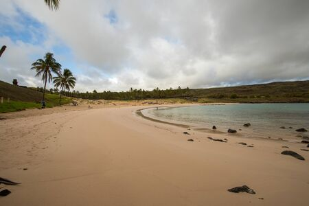 Panorama of Anakena beach with clouds, Easter Island, Chile - April, 2018 Stock Photo