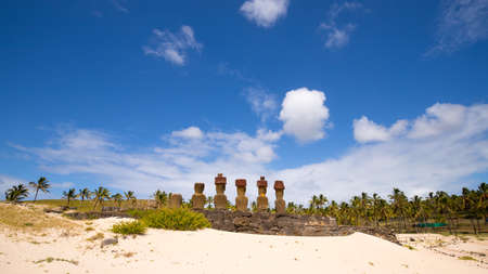 The moais of Ahu Nao-Nao in Anakena beach, Easter Island, Chile