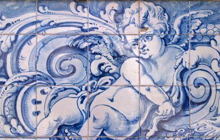 Blue ceramic mosaic, Pa�o de Arcos, Lisbon, Portugal