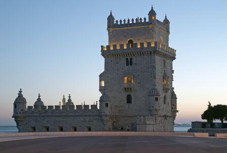 Torre de Belem at night, Lisbon, Portugal