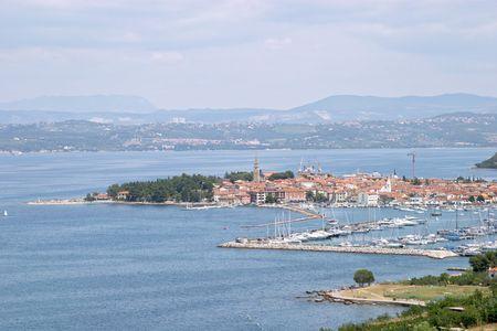 Panoramic view of the tourist village and harbour of Portoroz (Portorose), Istria, Slovenia