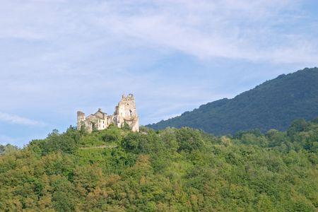 Collapsed old castle of Erbia near Perino, Valtrebbia, Italy Stock Photo