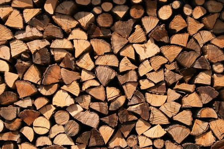 Firewood stock for the winter in the mountain village of Zerba, Valtrebbia, Italy photo