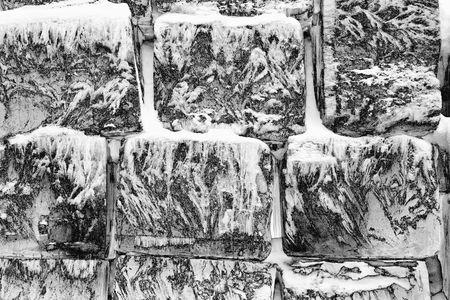 Wall of Jukkasj�rvi ice hotel near Kiruna in Lapland, Sweden photo