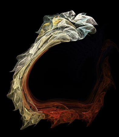 Abstract artificial computer generated iterative flame fractal art image of a snake