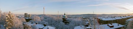 sweden winter: Winter morning colourful beautiful panorama sunrise with snow and buildings Liseberg tower downtown G�teborg Sweden