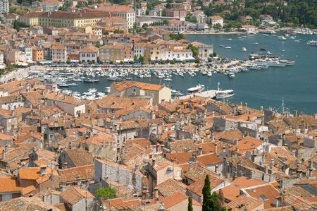 Panoramic aerial view of the historical centre and harbour of Rovinj (Rovigno), Istra, Croatia   Stock Photo