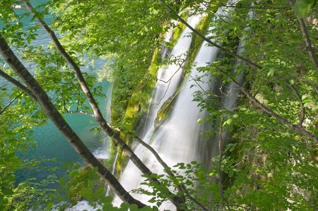 Waterfall in Plitvice lake (Plitvicka jezera) natural national park, Croatia