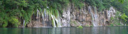 Panoramic long exposure image of waterfall in Plitvice lake (Plitvicka jezera) natural national park, Croatia Stock Photo