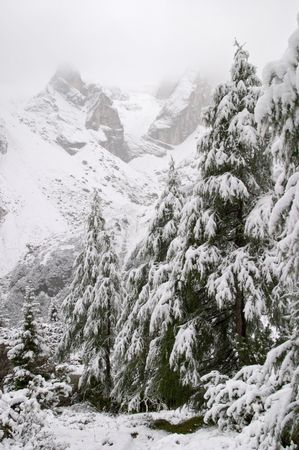 Early autumn snow in Dolomite Mountains, Alps, Italy photo