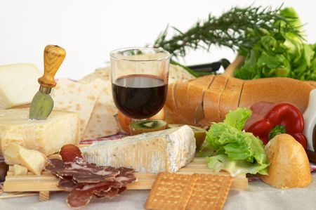 Gorgonzola, parmigiano, pecorino cheese, with wine and bread, typical Italian food, Piacenza photo