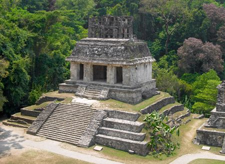 Temple of the sun, Palenque archaeological site, Mexico Stock Photo