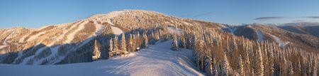 Panorama of ski slopes at winter, Steamboat ski resort, Colorado, United States Stock Photo