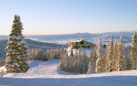Gondola building at winter, Steamboat ski resort, Colorado, United States Stock Photo