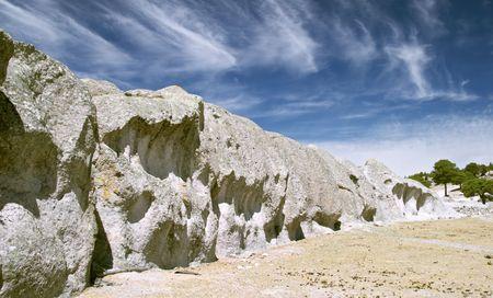 Strange stones and trees near Creel, Copper Canyon, Mexico Stock Photo